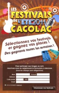Cacolac : Les festivals de l'été 2011
