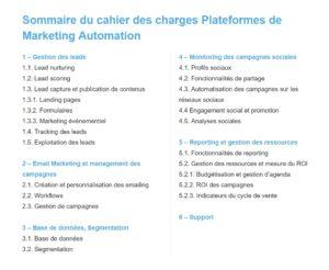 Sommaire du cahier des charges plateformes de marketing automation - GuidesComparatifs.com